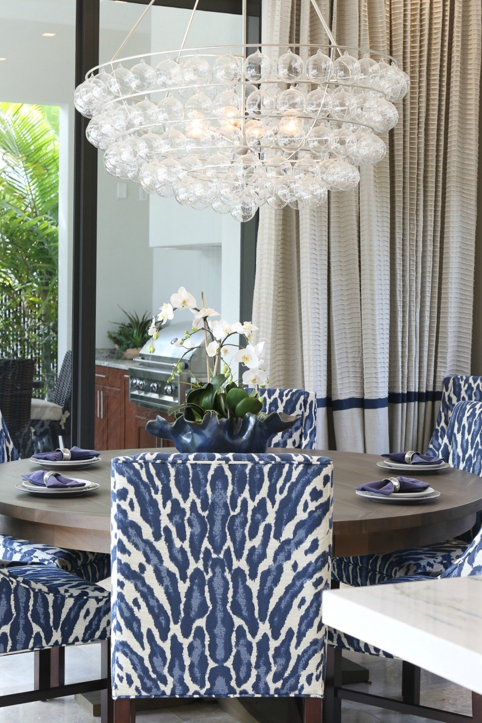 Navy animal print kitchen chair fabric.