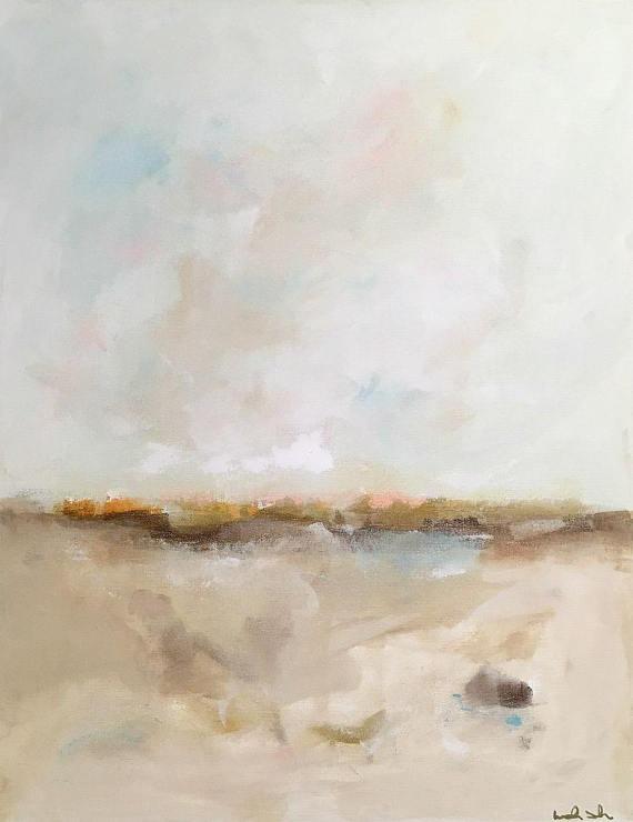 Original abstract coastal painting -Beach Calm
