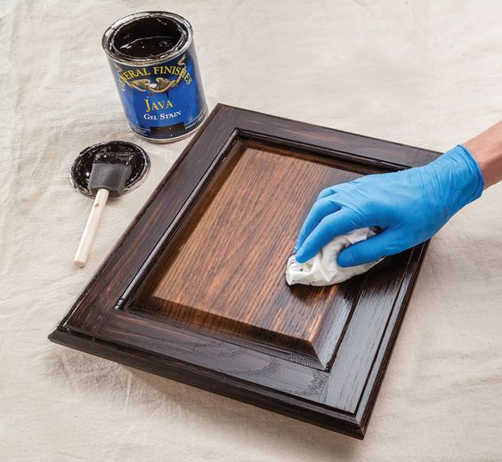 Using General Finishes Java Gel Stain to Stain Cabinets.