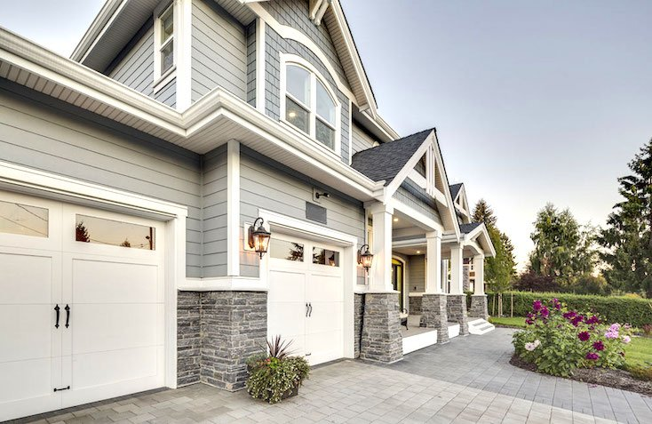 Clay Construction White Garage Doors with Windows