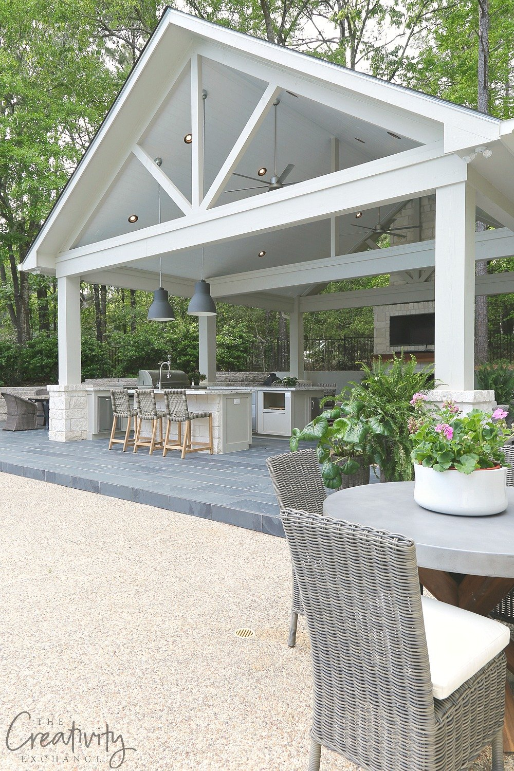 Combination Outdoor kitchen and Pool House Pavilion