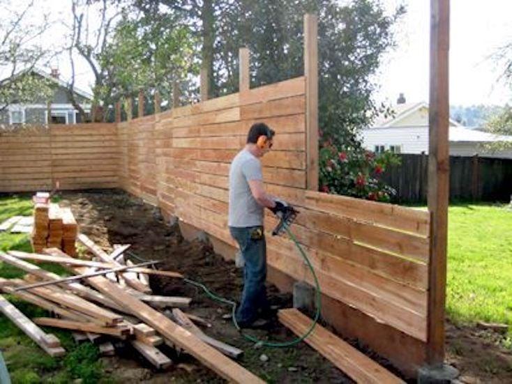 DIY Horizontal Plank Fence