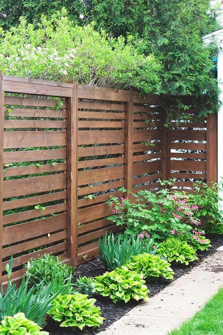 Horizontal Cedar Slatted Fence