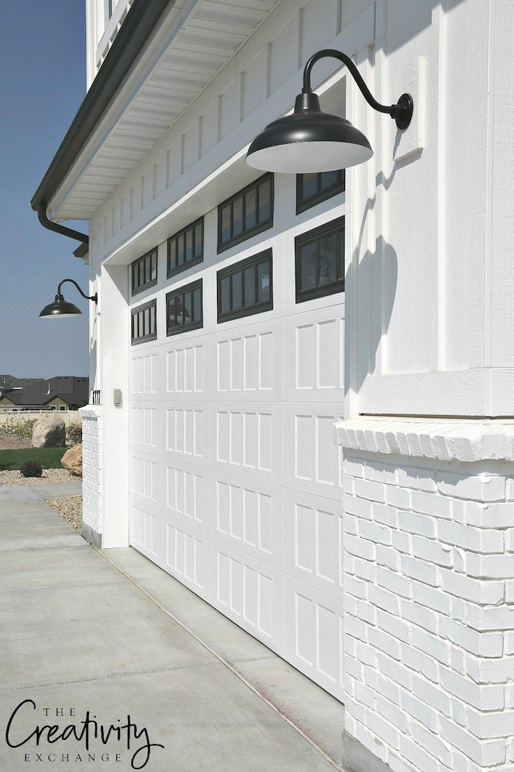 Modern Farmhouse Garage Door Plus Lighting