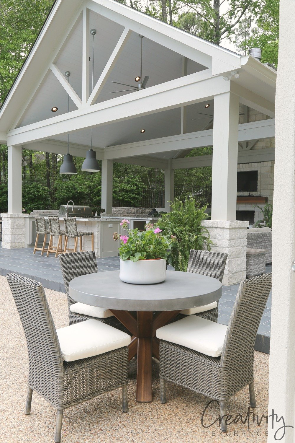 Outdoor kitchen and pool house pavilion.