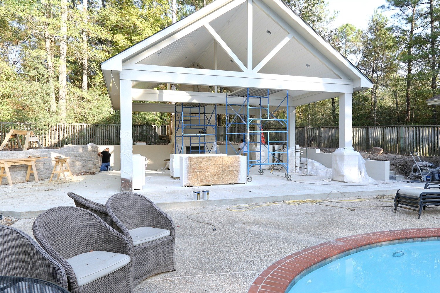 Outdoor kitchen construction project