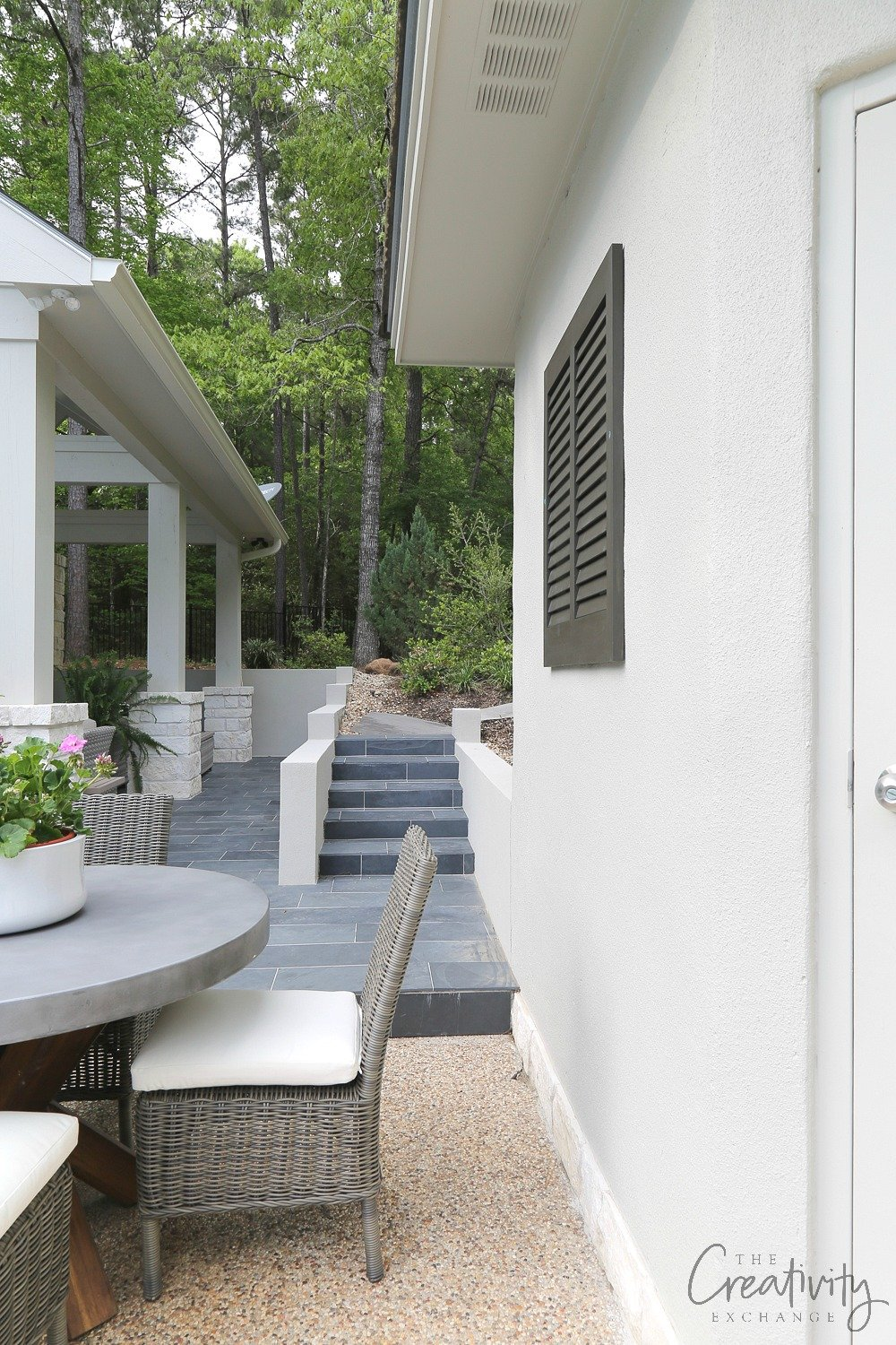 Outdoor patio and slate tile stairs