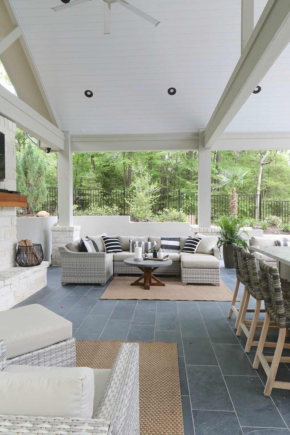 Outdoor patio furniture and decor. Pool house reveal