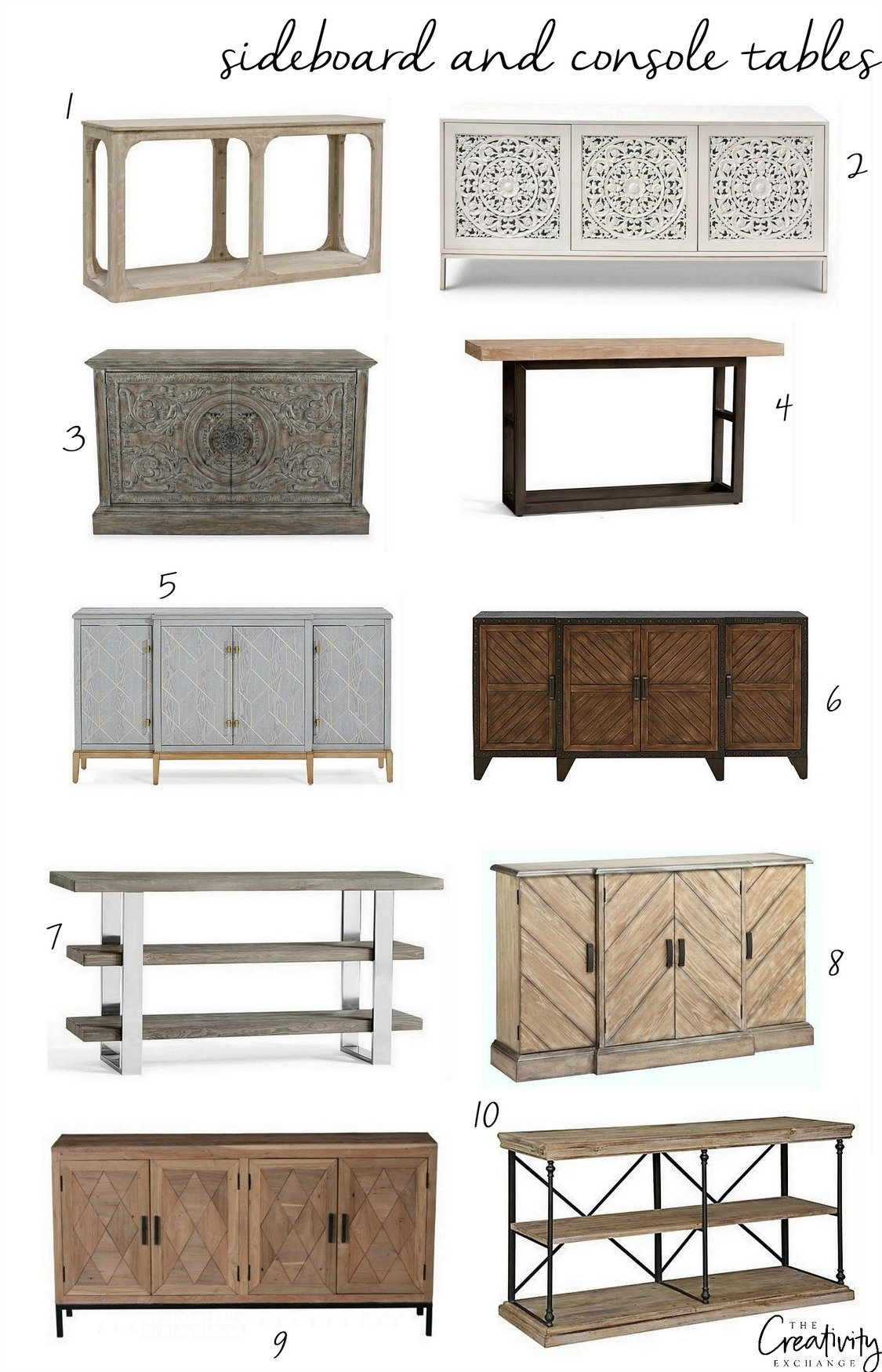 Sideboard and console tables