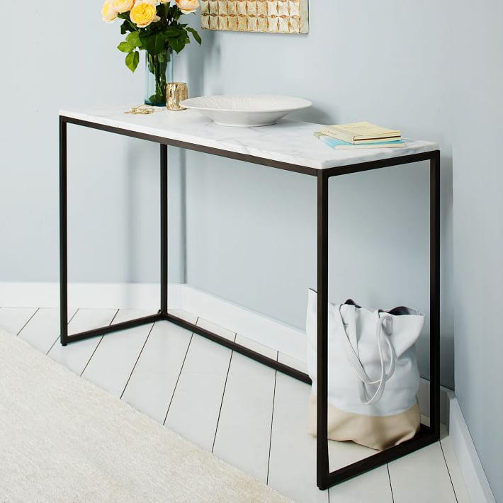Box Frame Console - Marble/Antique Bronze