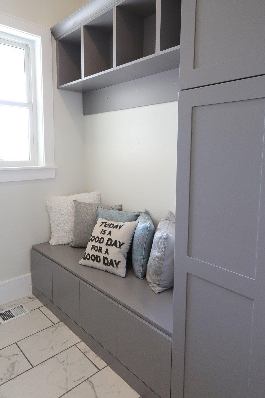 Mudroom grey cabinetry