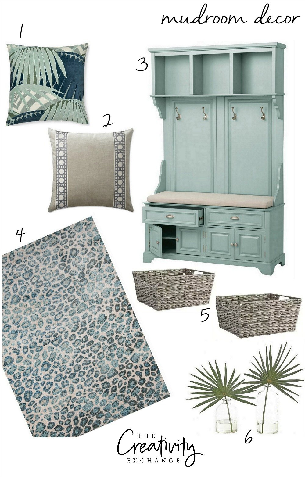 Mudroom Design Board with Decor and Products