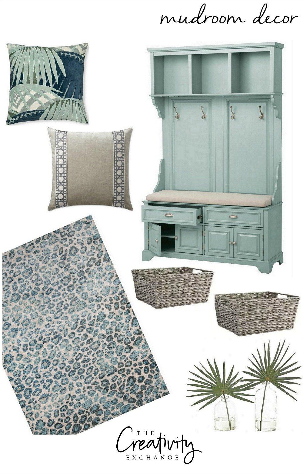 Mudroom decor design board and products