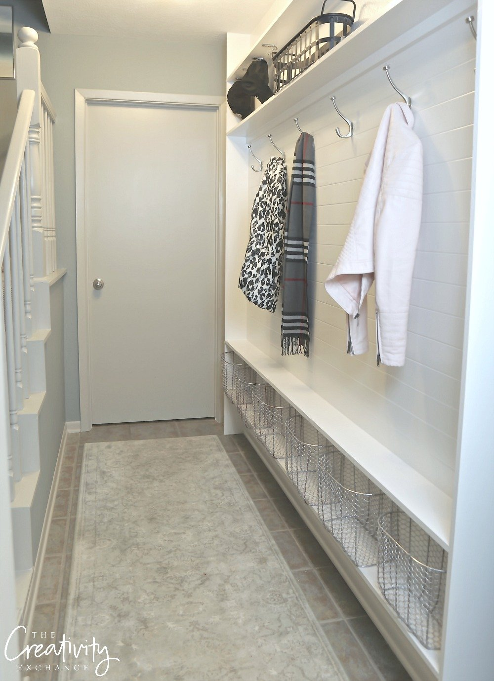 Narrow Hallway Mudroom Using Only 5.5 inches of Depth