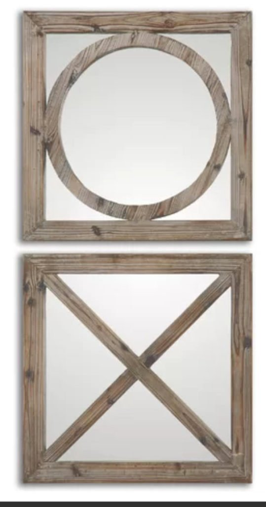 Square x and o mirrors for creating a grouping