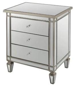 3 drawer Mirrored Nightstand