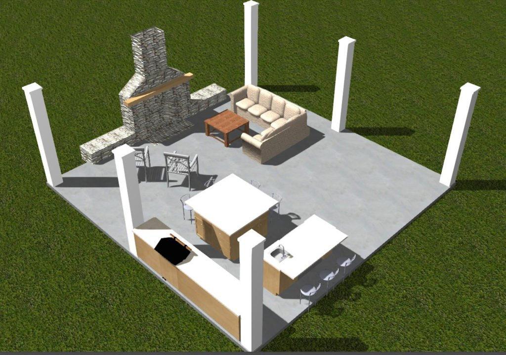 Outdoor kitchen plan. 3D rendering plan