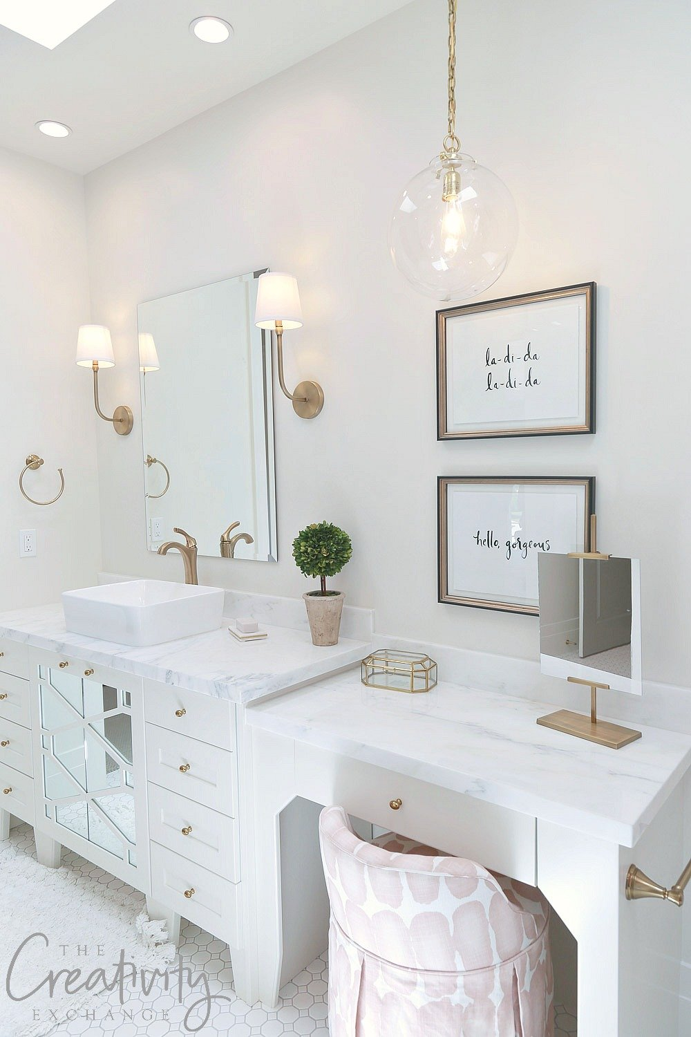 All white guest bathroom design. Raykon Construction