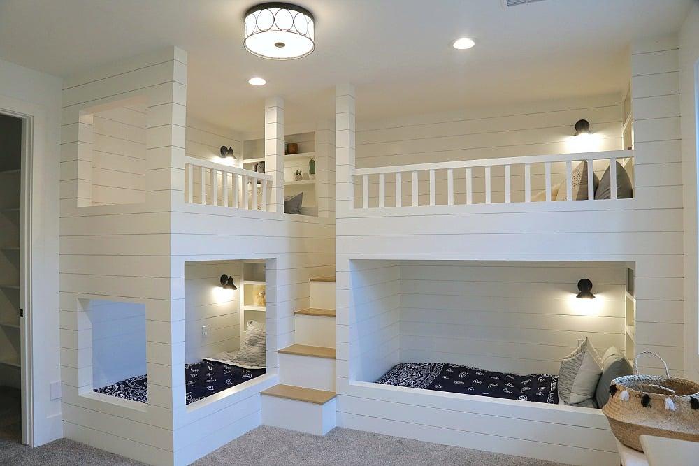 Double shiplap bunk beds