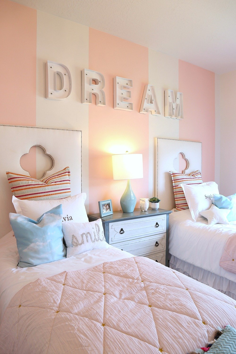 Letters spelling out words or a childs name on the bedroom wall