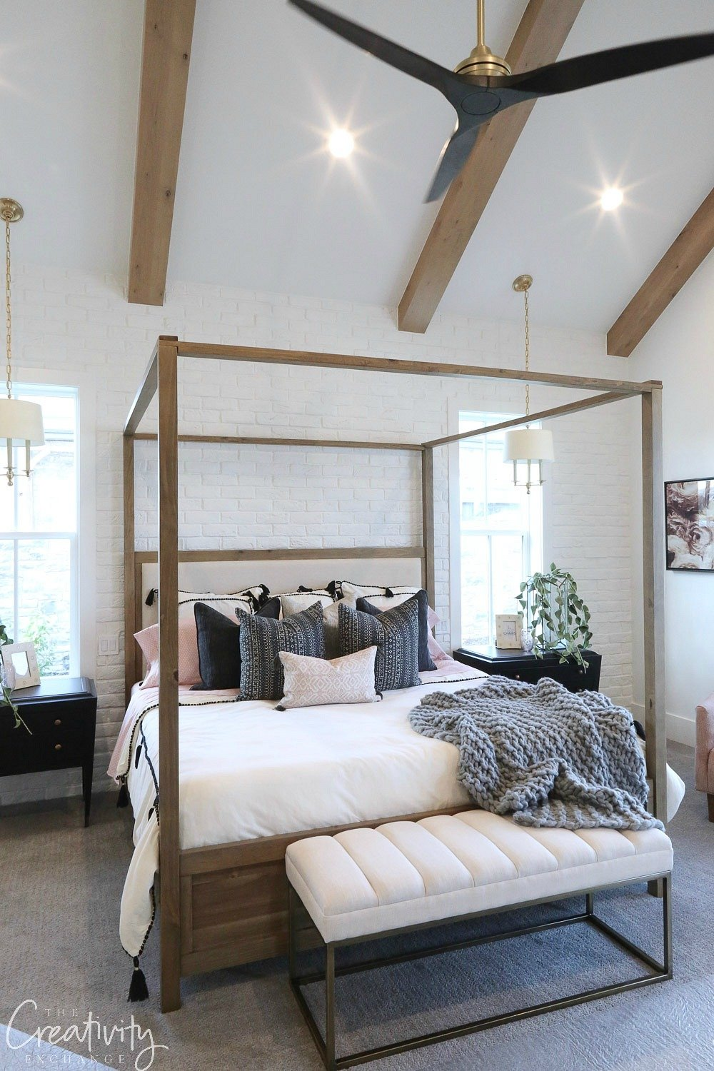 Master bedroom bed built by Millhaven Homes