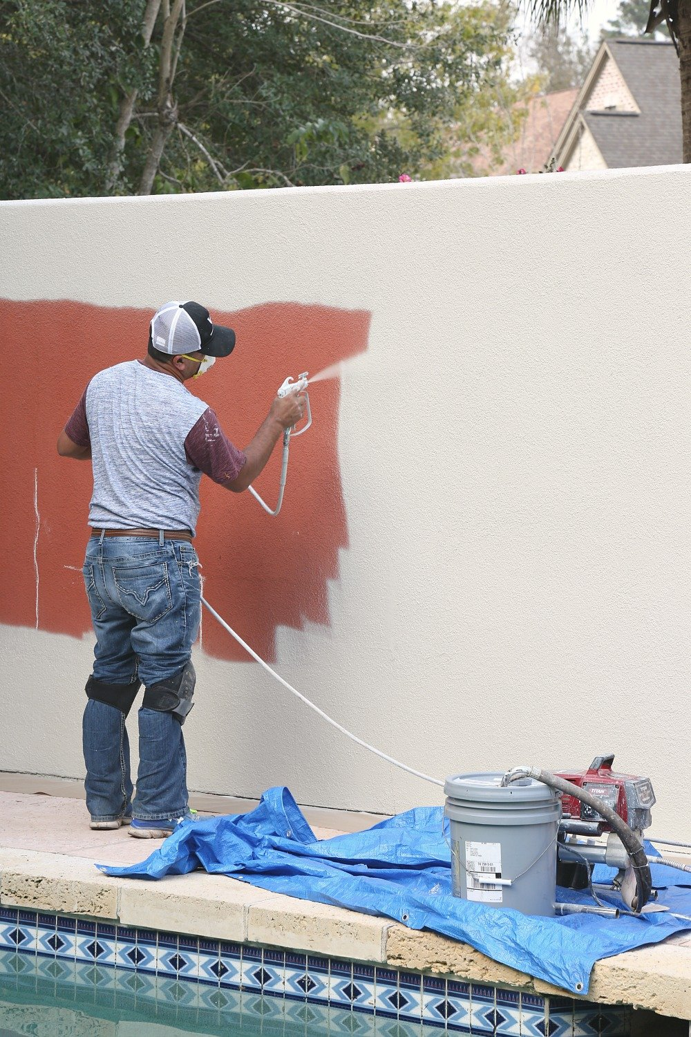 Painting an exterior stucco wall with PPG Timeless Exterior