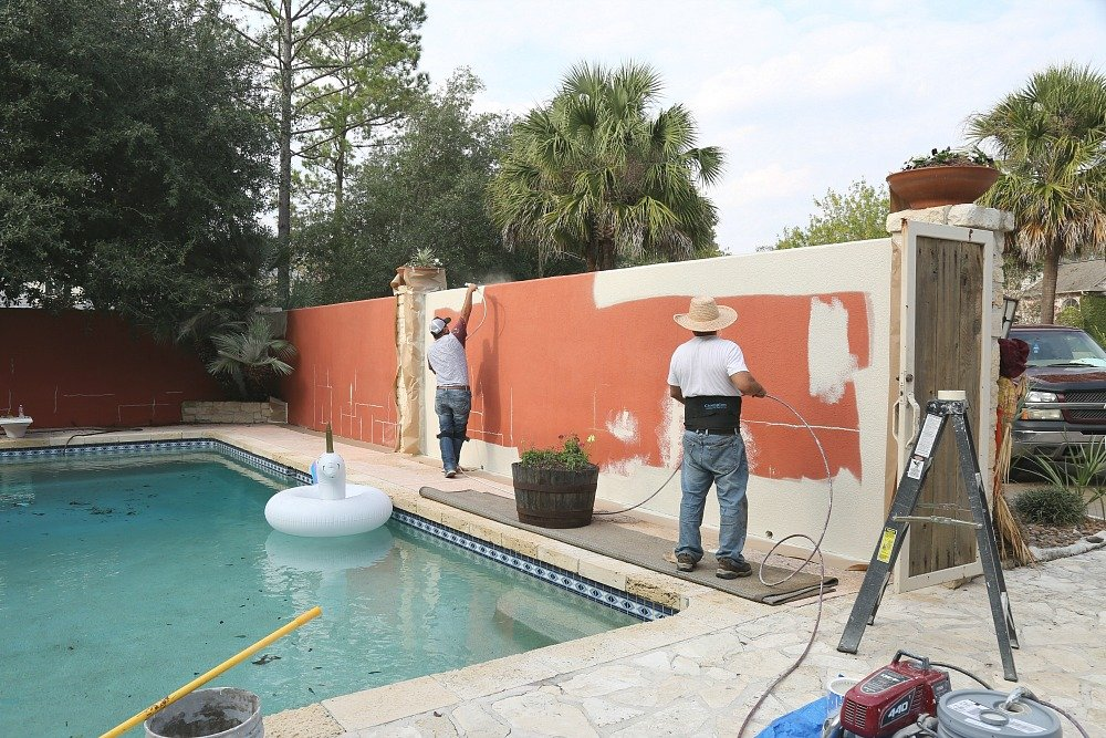 Painting an exterior stucco wall