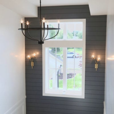 Wall accent color is Benjamin Moore Trout Gray