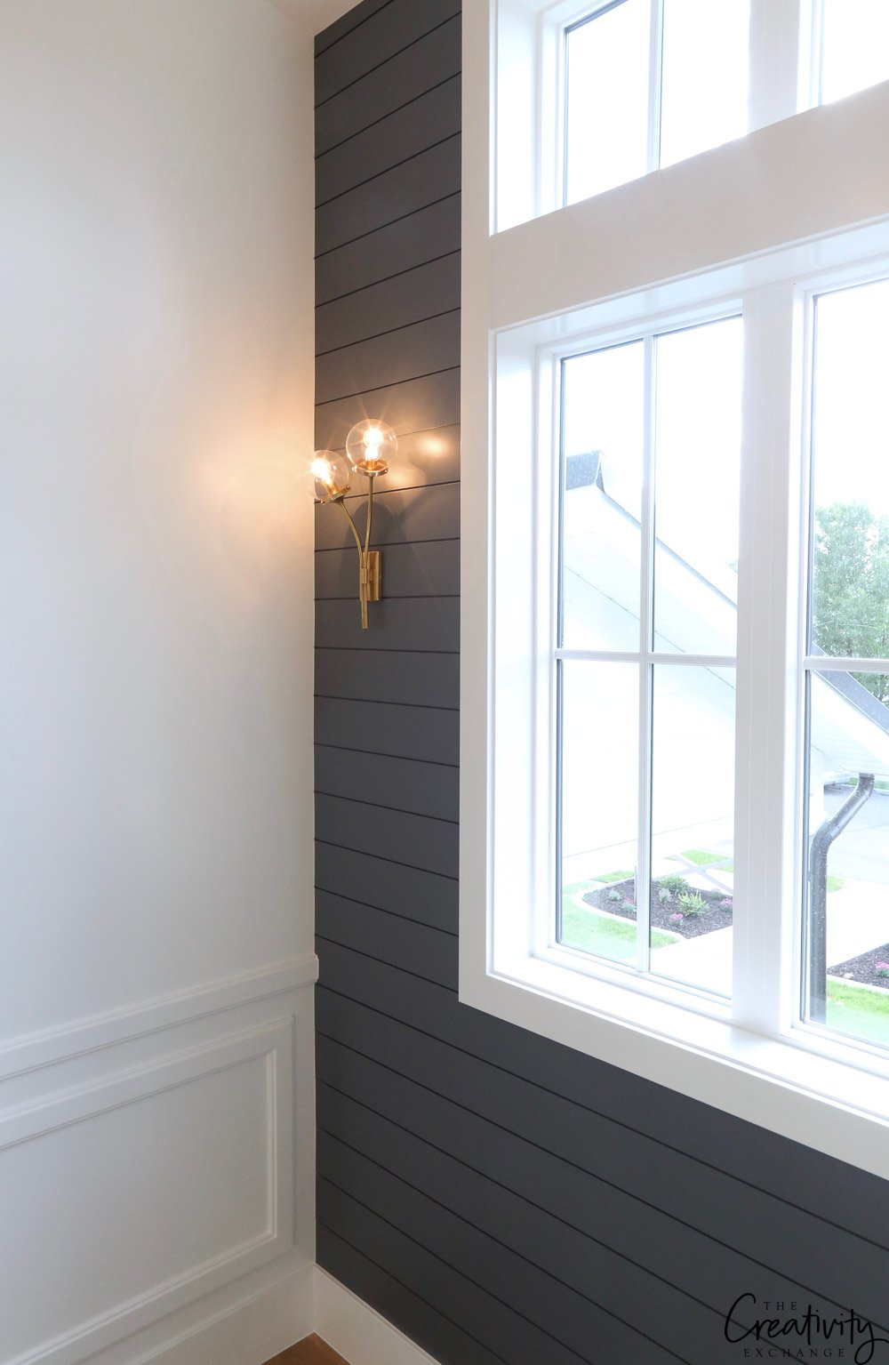 Wall paint color is Benjamin Moore Trout Gray