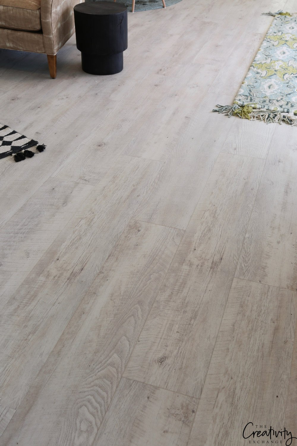 Wide plank white oak look vinyl floors