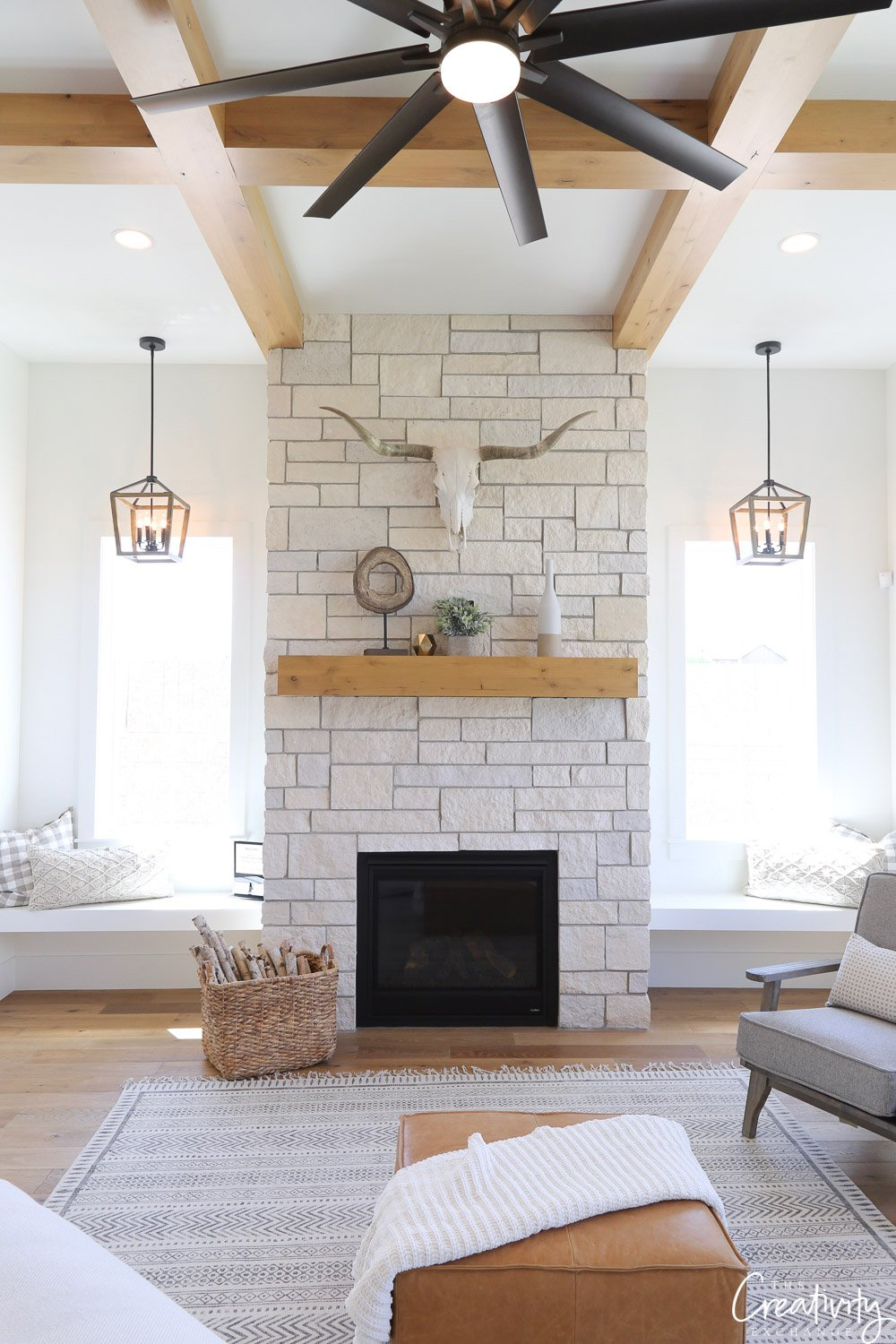 Limestone living room fireplace.