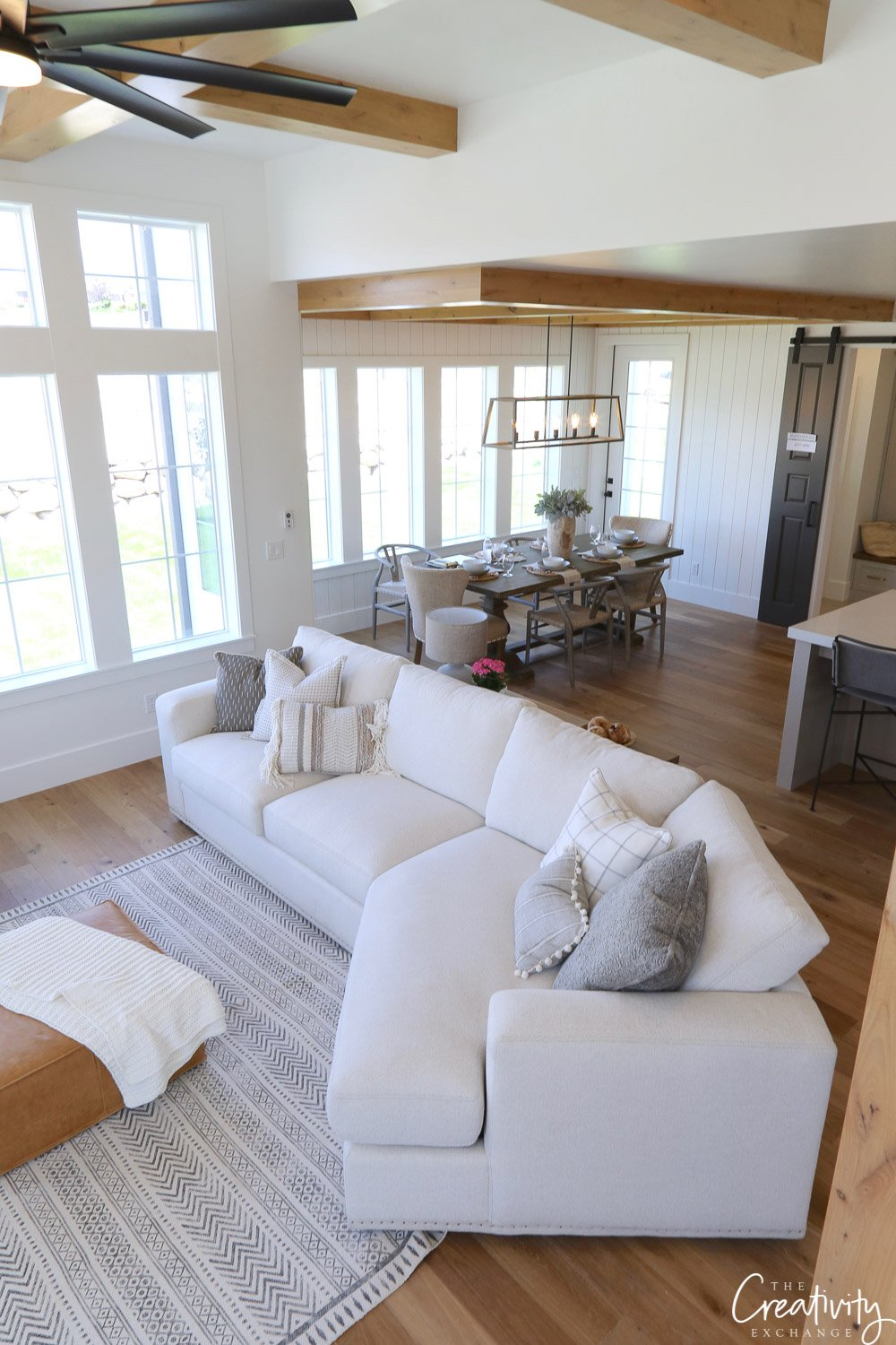 Modern Farmhouse Open Great Room.