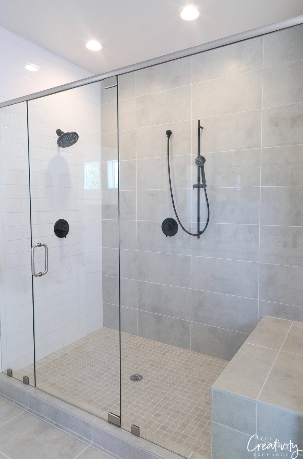 Master bathroom large walk in shower.