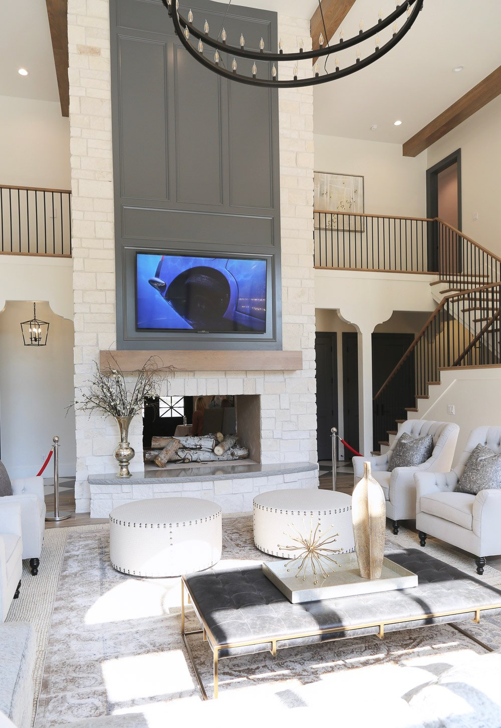 Fireplace paint color is Benjamin Moore Trout Gray