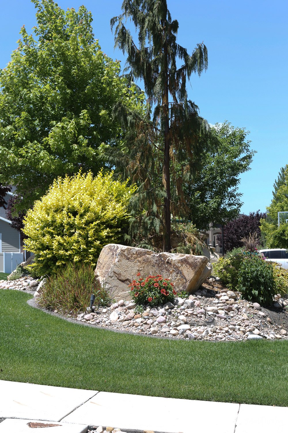 Landscaping with boulders and rocks.