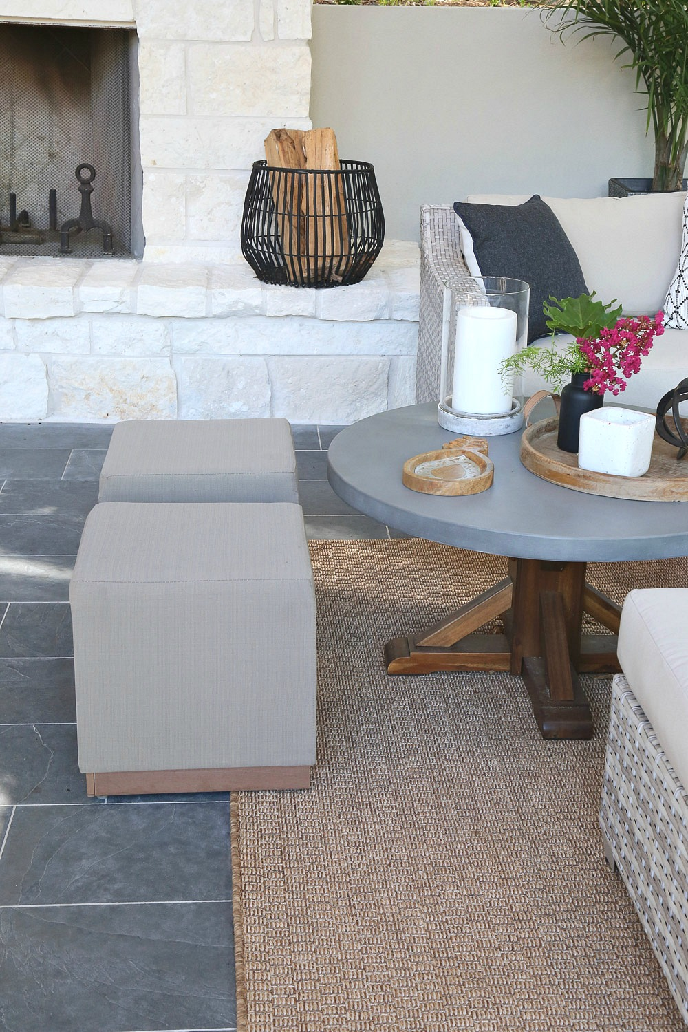 Small outdoor ottomans for extra seating around coffee tables.
