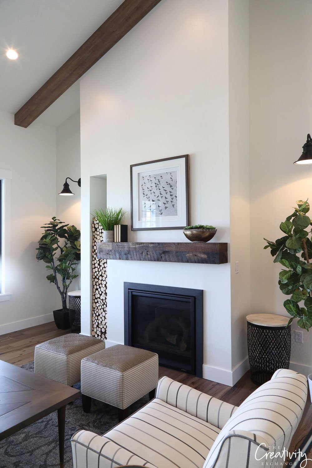Modern farmhouse living room fireplace