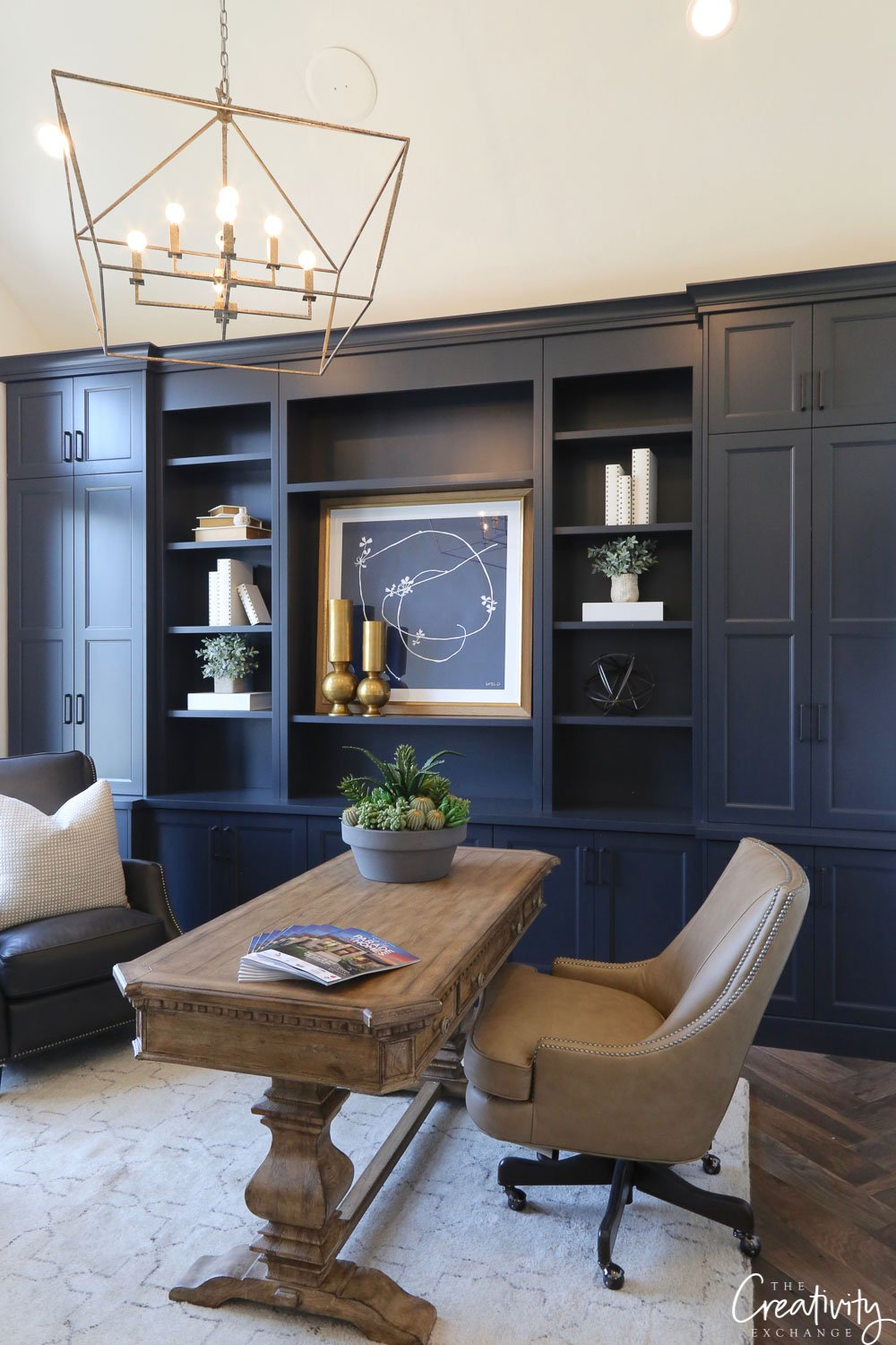 Deep rich blue painted cabinetry