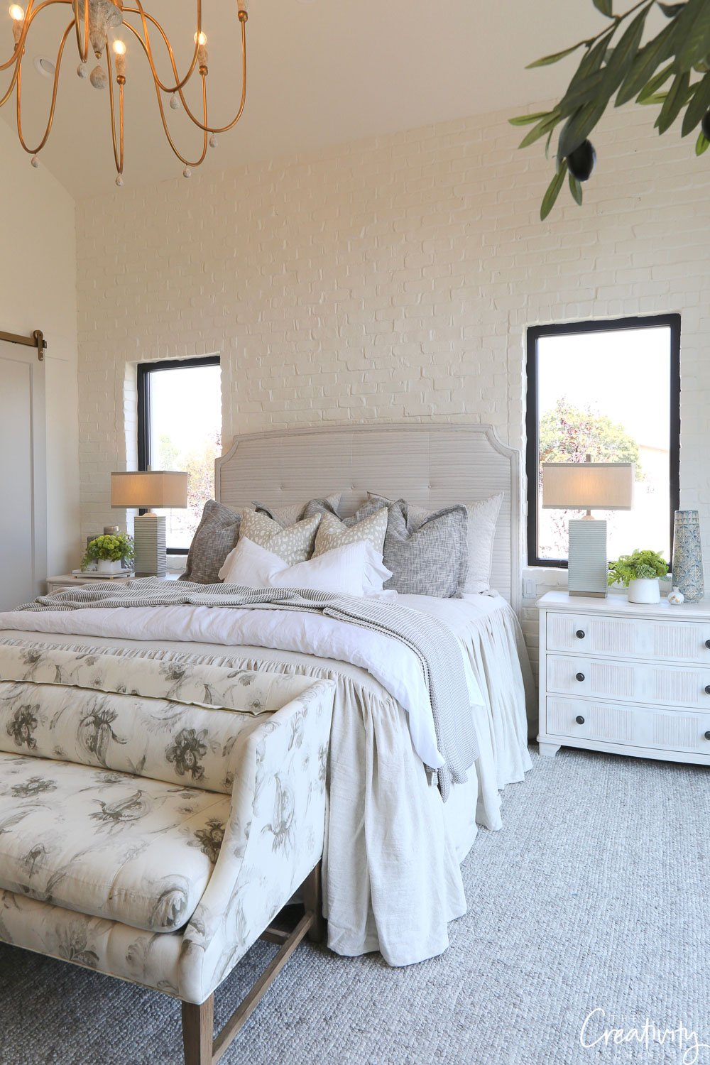 Modern farmhouse master bedroom.