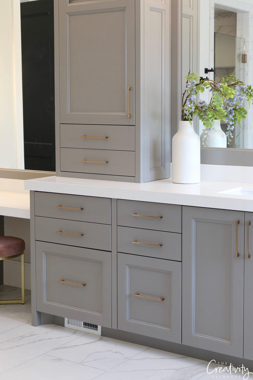 Warm Gray painted bathroom vanity