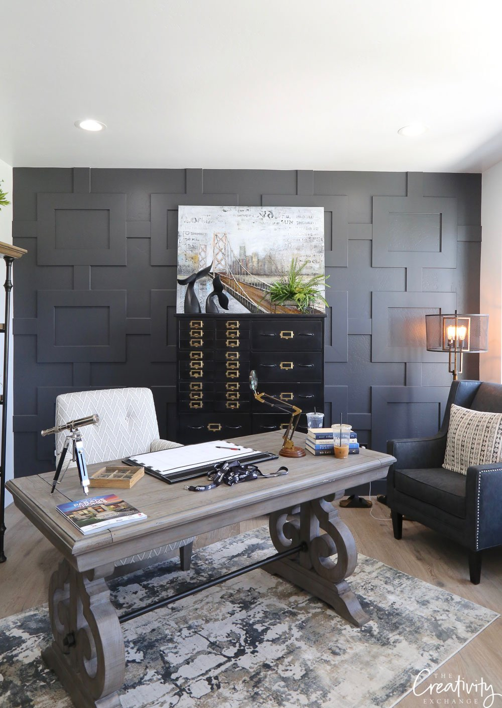Wall color is Benjamin Moore Kendall Charcoal
