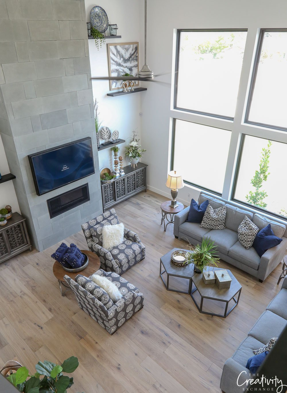 Large open living room with white oak floors