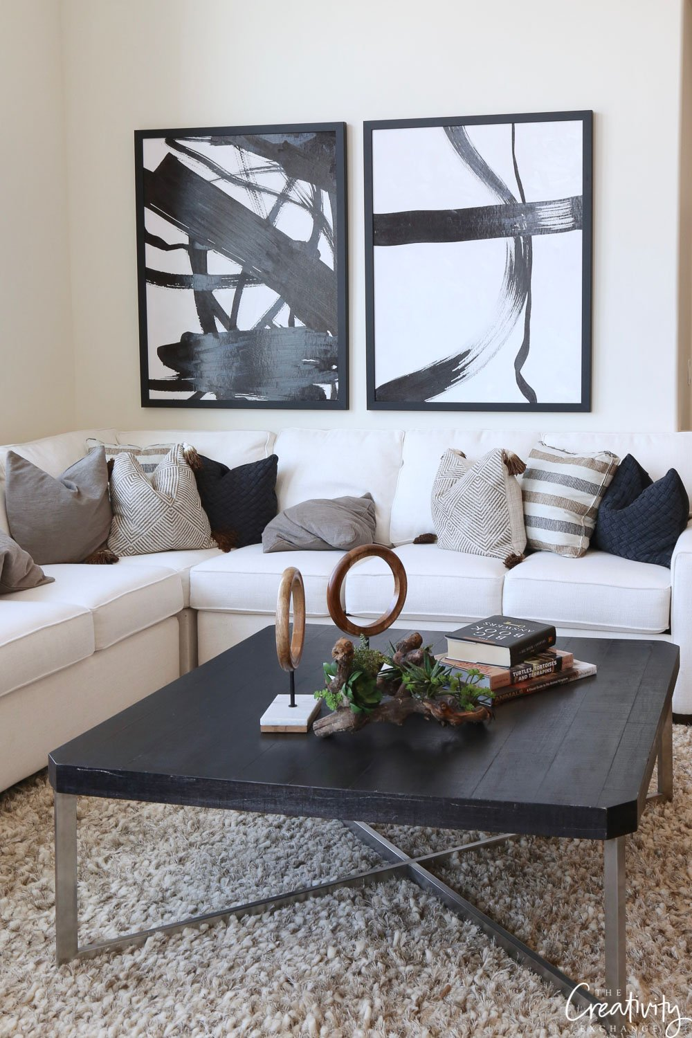 Black and white open living room