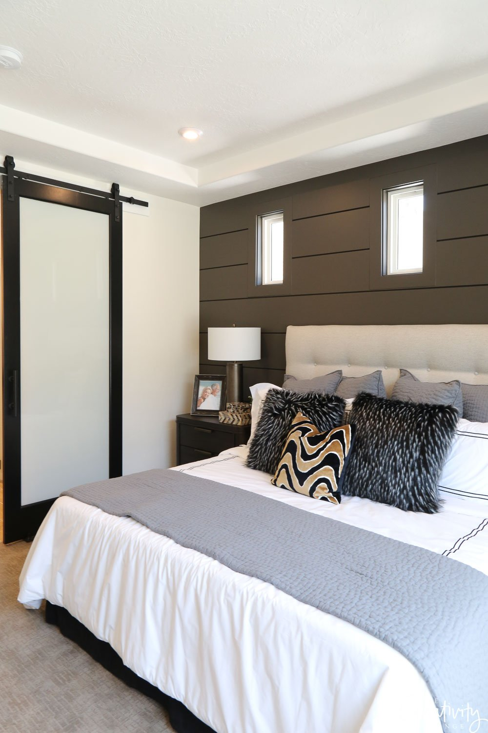 Painted Shiplap Accent Wall Benjamin Moore Kendall Charcoal.