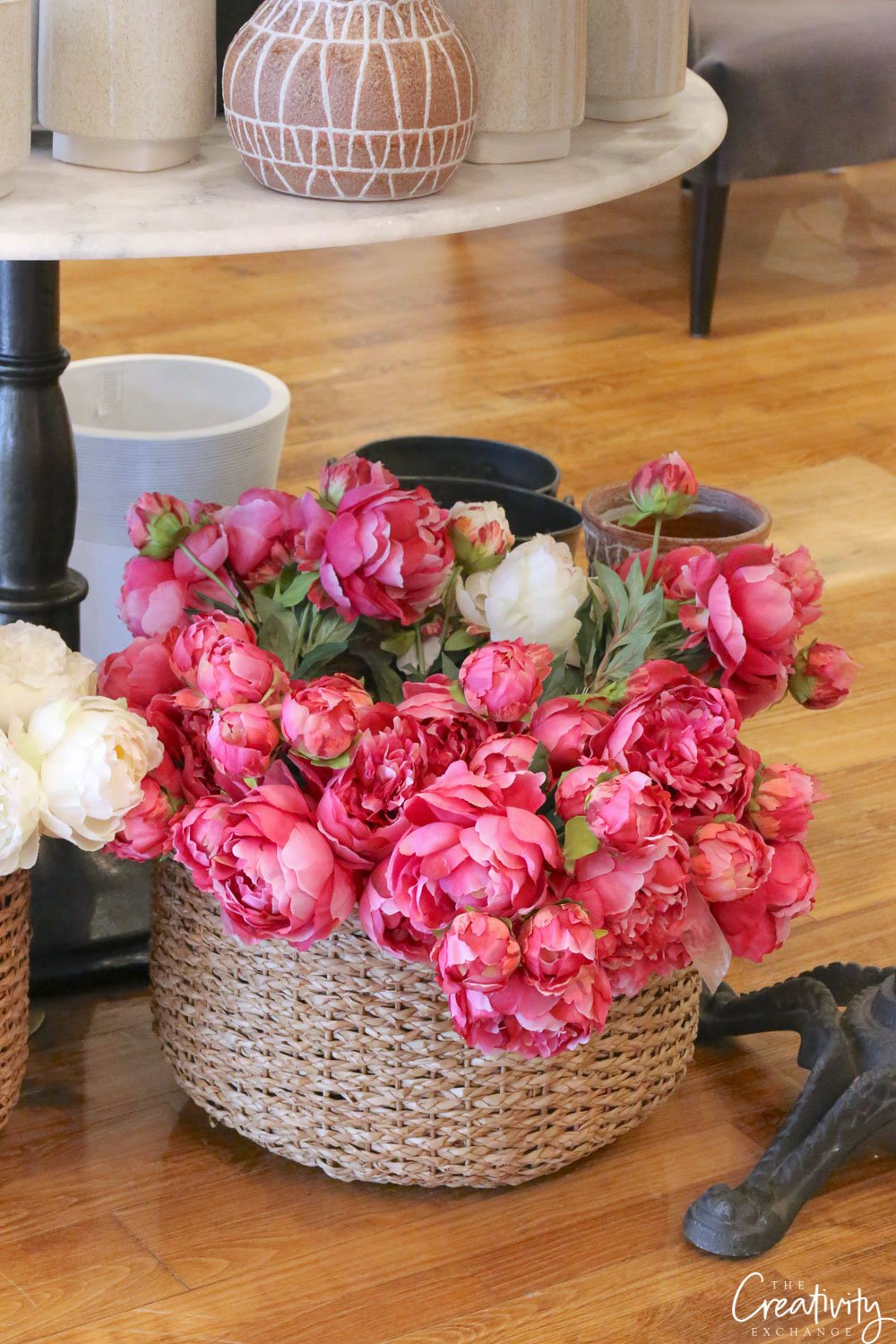 Faux bunches of hot pink peonies