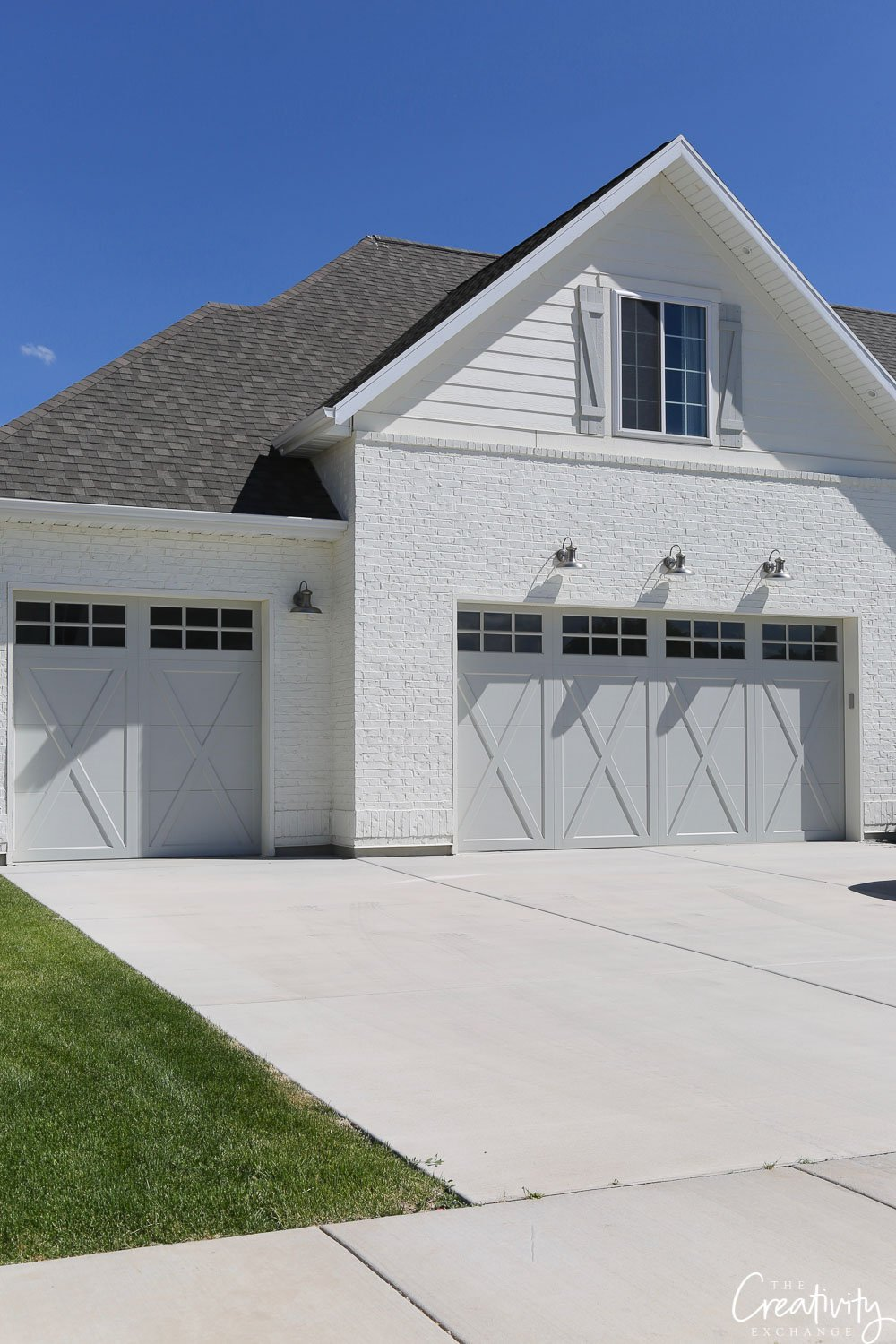 Painted brick exterior garages.