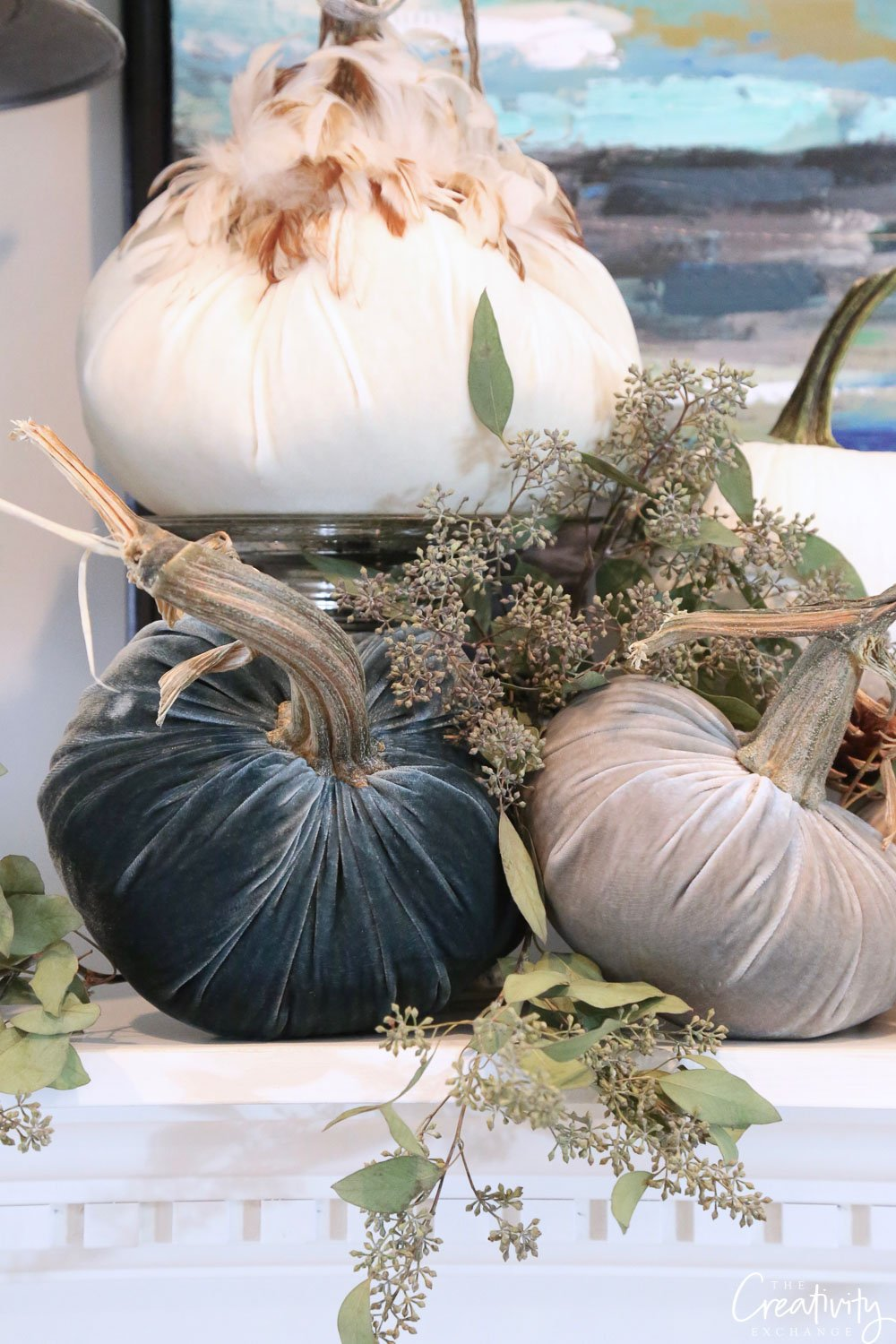 Fall Mantle Styled with Pumpkins