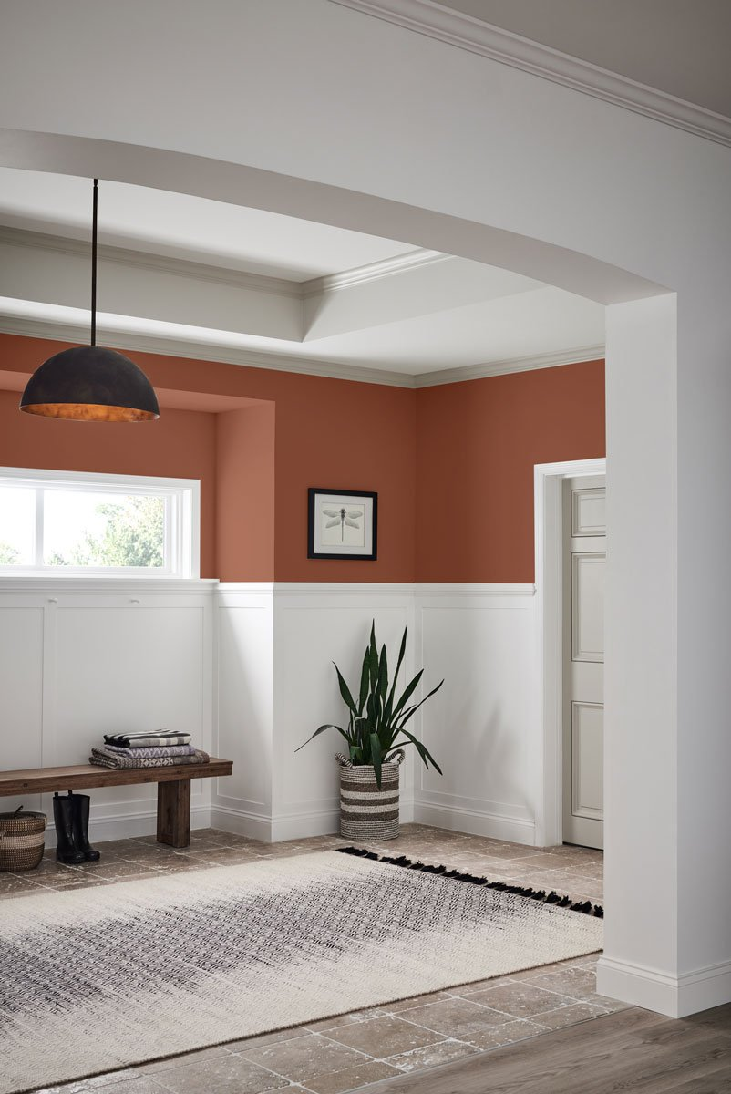 Wall color is Sherwin Williams Cavern Clay. 2019 Color of the Year