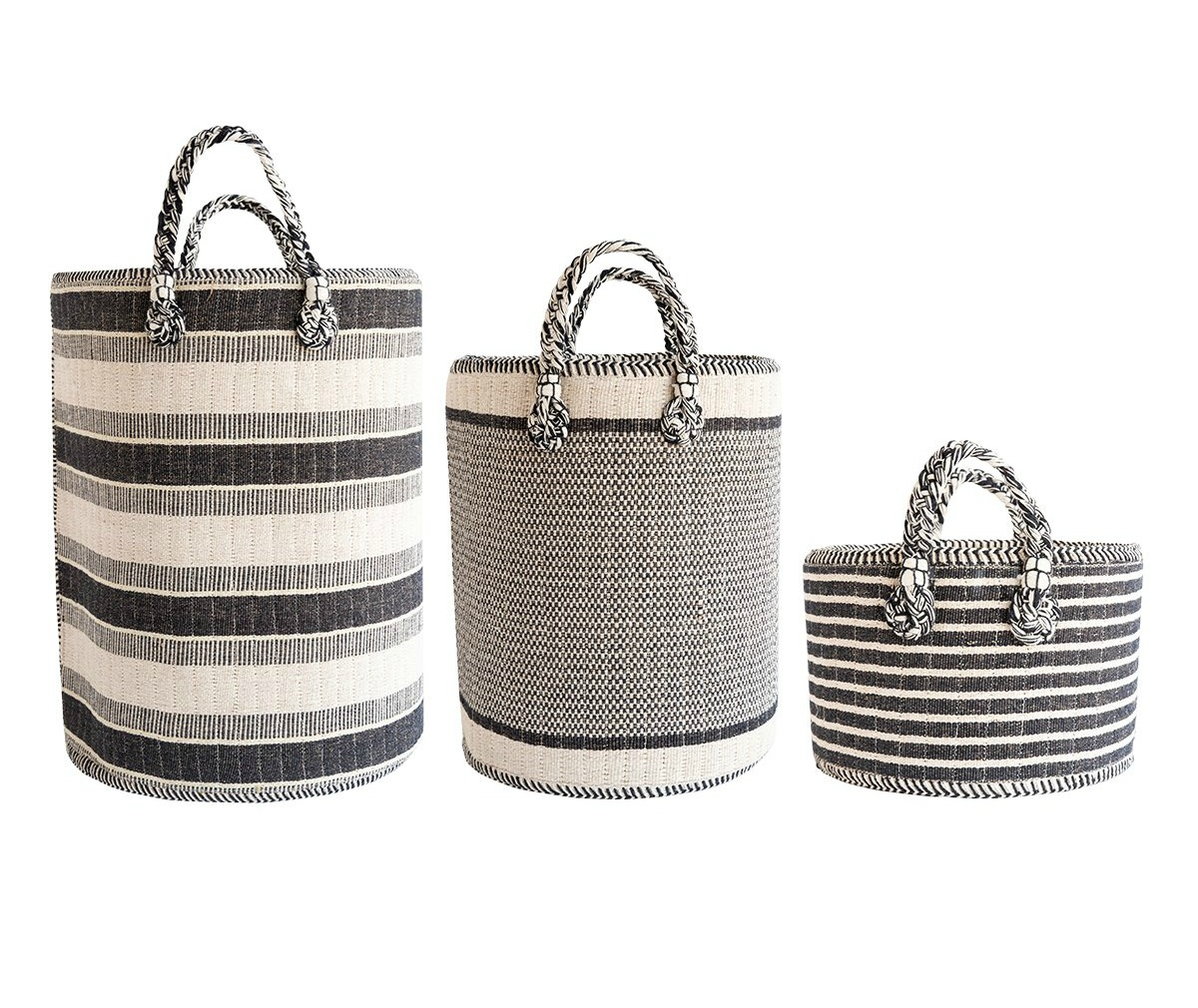 Black and white striped baskets