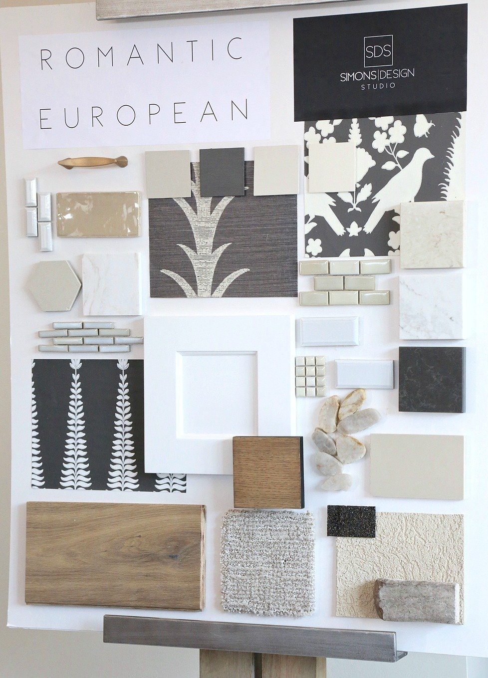 Design board from Simons Design Studio